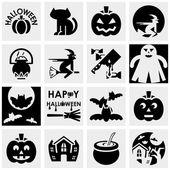 Halloween vektorové ikony na šedé