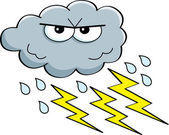 Cartoon illustration of a storm cloud with rain and lightning