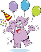 Cartoon illustration of an elephant jumping with a party hat and balloons
