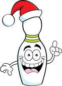 Cartoon illustration of a bowling pin wearing a Santa hat