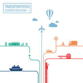Transportation infographics - graphic elements collection all means of transport