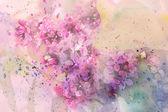 Twig of lilac flowers and watercolor splashes