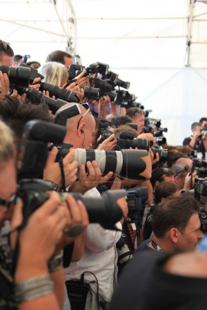 Постер, плакат: Photographers at Venice Film Festival, холст на подрамнике