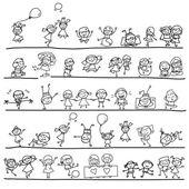 Hand drawing cartoon character happy kids playing