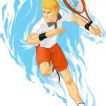 Постер, плакат: Tennis Player Holding Racket