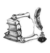 Academic and education set: books scroll pen (feather) and beauty inkwell Vector illustration EPS10