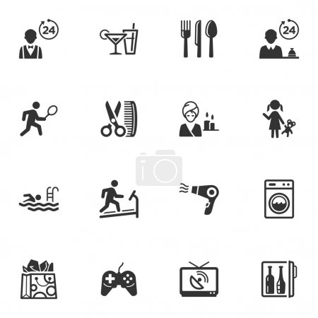 Постер, плакат: Hotel Services and Facilities Icons Set 2, холст на подрамнике