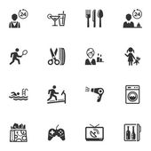 Set of 16 hotel services and facilities icons great for presentations web design web apps mobile applications or any type of design projects