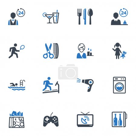 Постер, плакат: Hotel Services and Facilities Icons Set 2 Blue Series, холст на подрамнике