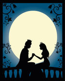 Silhouette of prince and princess at night