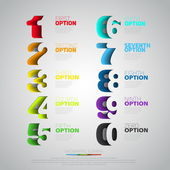 Modern infographics process template with set of numbers made of papercut Vector Can be used for web design and workflow layout