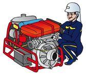 Fireman with machine - vector illustration