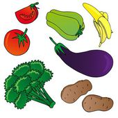 Vegetables and fruits collection 01 - vector illustration