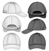 Vector illustration of baseball cap (front back and side view)