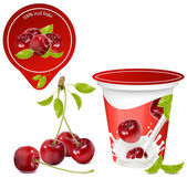 Vector illustration Background for design of packing yoghurt with photo-realistic vector of cherry Red ripe cherry with leaves