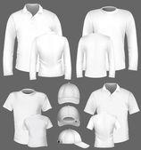 Vector Men's polo shirt and t-shirt design template and baseball cap