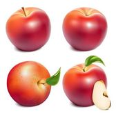 Set of photo-realistic vector red apples and apples slices with green leaves Vector illustration