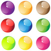 Nine round transparent aqua buttons on a white background