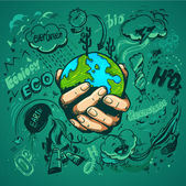 Human hands holding Earth save earth concept