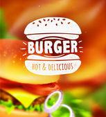Etichetta di hamburger su sfondo sfocato