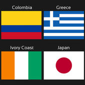 Vector flags - football Brazil, group C - Colombia, Greece, Ivory Coast, Japan