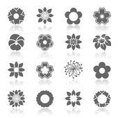 Set vettoriale di fiori di fioritura con illustrazione ombra - simbolo, icona del fiore-