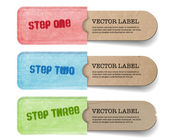 Abstract vector vintage old paper tags with soft fabric pockets One Two Three steps