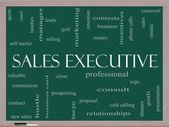 Prodejní výkonný slovo mrak koncepce na tabuli