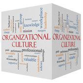 Organizational Culture 3D cube Word Cloud Concept