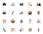 Vector set of web icons Black orange series 1