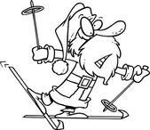 Cartoon Santa Snow Skiing