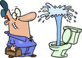 A male cartoon plumber admiring a toilet geyser