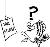 Black and white line art illustration of a cartoon fish confused by a sign on a hook that reads free stuff