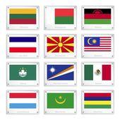 Skupina národních vlajek na kovových textury desky