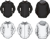 Fekete-fehér férfi kapucnis pulóver sablon