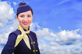 Schöne junge lächelnde Stewardess in Uniform auf einem Hintergrund-Himmel