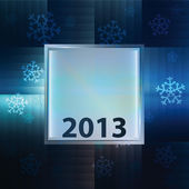 Snowflake blue background with square frame vector
