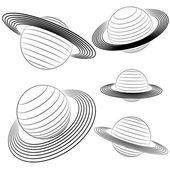 Isolated saturn planet line drawing pack vector illustration