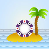 Lonely island with poker betting chip vector illustration