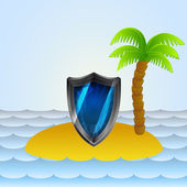 Lonely island with shield protection vector illustration