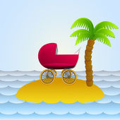 Lonely island with baby carriage holiday vector illustration