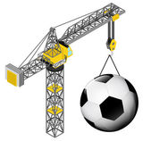 Football ball hanged on isolated crane drawing vector illustration