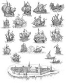 Old pirate map icons