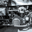 Постер, плакат: BERLIN GERMANY MAY 17 2014: Engine of the motorcycle Munch Mammoth 1200 TTS Black and white 27th Oldtimer Day Berlin Brandenburg