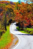 Winding rural mountain road in Autumn