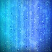 Modré pozadí deštivé okna s kapkami a rozmazání