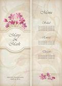 Florale Vektor dekorative Hochzeit Menü oder Einladung Template Design mit schönen Blumenstrauß von rosa Blüten abstrakt dekorative Tapete Muster auf texturierte Grunge hintergrund im Vintage-Stil