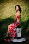 Girl on a railway sign