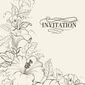 Carta naturale con fiore di ibisco. illustrazione vettoriale
