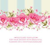 Ornate pink flower border with tile Elegant Vintage card design Vector illustration